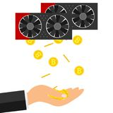 Bitcoins fall into the hand. The hand catches bitcoins from the video card. The concept of earning bitcoins. Flat design,  illustration Stock Photos