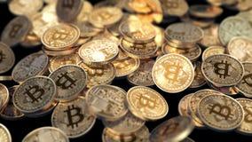 Bitcoins faller på en svart bakgrund stock illustrationer