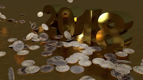 Bitcoins falling, 2018 , 3D animation stock footage