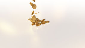 Bitcoins falling on a pile. Bitcoin currency, crypto currency, falling on a pile Royalty Free Stock Photography