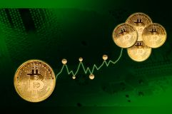 Bitcoins.Financial growth concept,bitcoin and chart. On green background Royalty Free Stock Photo
