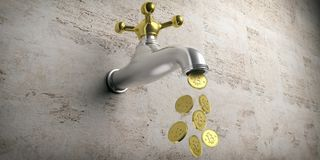 Bitcoins flowing from a golden silver faucet on beige background. 3d illustration Stock Photography