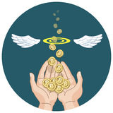 Bitcoins flying from hands and disappearing Royalty Free Stock Photos