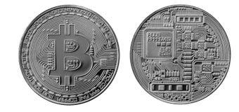 Bitcoins Fysiska bitmynt Digital valuta Cryptocurrency som bryter begrepp Två mynt med bitcoinsymboler som isoleras på vit b Royaltyfri Fotografi