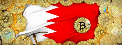 Bitcoins Gold around Bahrain flag and pickaxe on the left.3D Il vector illustration