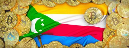 Bitcoins Gold around Comoros flag and pickaxe on the left.3D Il royalty free illustration