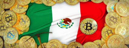 Bitcoins Gold around Mexico flag and pickaxe on the left.3D Ill vector illustration
