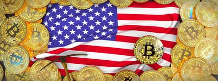 Bitcoins Gold around United States flag and pickaxe on the left royalty free illustration