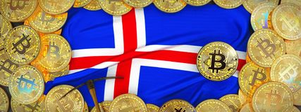 Bitcoins-Gold um Island-Flagge und Hacke auf dem links 3d IL Stockbilder
