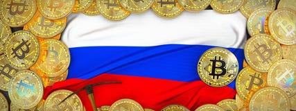 Bitcoins-Gold um Russland-Flagge und Hacke auf dem links Kranke 3d Lizenzfreie Stockfotos