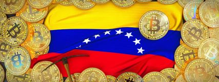Bitcoins-Gold um Venezuela-Flagge und Hacke auf dem links 3d vektor abbildung