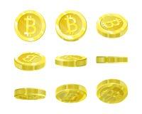 Bitcoins, gouden 3d muntstuk vanuit verschillende invalshoeken voor animatie van isolatie Cryptmunt van de toekomst, mijnbouw Stock Afbeelding