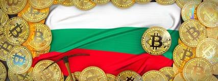 Bitcoins guld runt om Bulgarienflagga och spetshacka på det vänstert 3D mig Arkivbilder