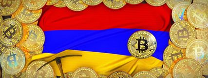 Bitcoins guld runt om den Armenien flaggan och spetshacka på det vänstert 3d il Royaltyfri Bild