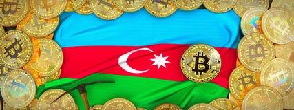 Bitcoins guld runt om den Azerbajdzjan flaggan och spetshacka på det vänstert 3d Arkivbilder