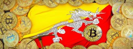 Bitcoins guld runt om den Bhutan flaggan och spetshacka på det vänstert 3d dåligt Arkivbilder