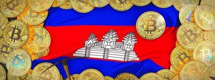 Bitcoins guld runt om den Cambodja flaggan och spetshacka på det vänstert 3D mig Royaltyfri Bild