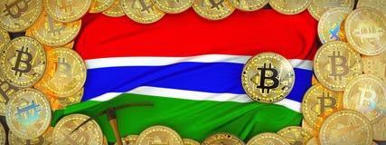 Bitcoins guld runt om den Gambia flaggan och spetshacka på det vänstert 3d dåligt vektor illustrationer