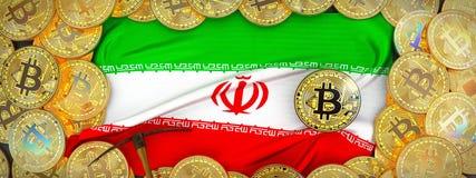 Bitcoins guld runt om den Iran flaggan och spetshacka på det vänstert illus 3d Arkivbilder