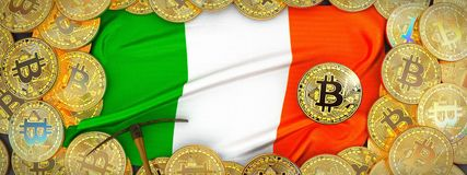 Bitcoins guld runt om den Irland flaggan och spetshacka på det vänstert 3d il Royaltyfri Bild