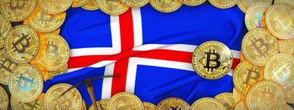 Bitcoins guld runt om den Island flaggan och spetshacka på det vänstert 3d il Arkivbilder
