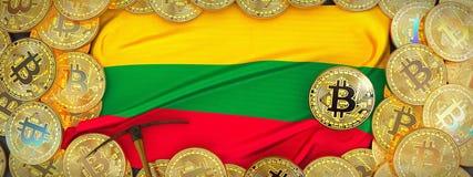 Bitcoins guld runt om den Litauen flaggan och spetshacka på det vänstert 3d Arkivbilder