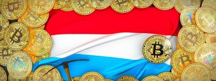 Bitcoins guld runt om den Luxembourg flaggan och spetshacka på det vänstert 3d Arkivbild