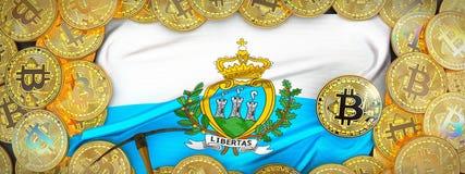 Bitcoins guld runt om den San Marino flaggan och spetshacka på det vänstert 3d Arkivbild