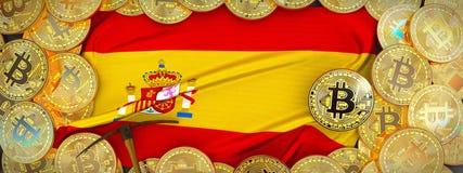 Bitcoins guld runt om den Spanien flaggan och spetshacka på det vänstert illu 3d Arkivfoto