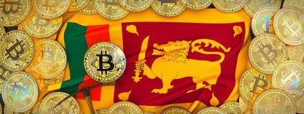 Bitcoins guld runt om den Sri Lanka flaggan och spetshacka på det vänstert 3d Arkivfoto