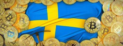 Bitcoins guld runt om den Sverige flaggan och spetshacka på det vänstert 3d dåligt Arkivbild