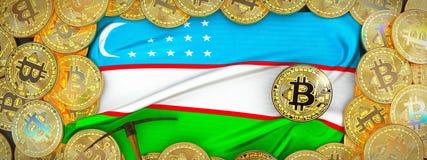 Bitcoins guld runt om den Uzbekistan flaggan och spetshacka på det vänstert 3d Arkivbild