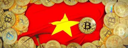 Bitcoins guld runt om den Vietnam flaggan och spetshacka på det vänstert 3d il Arkivbilder