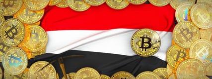 Bitcoins guld runt om den Yemen flaggan och spetshacka på det vänstert illu 3d Royaltyfri Bild