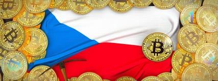 Bitcoins guld runt om tjeckisk flagga och spetshacka på det vänstert illu 3d Royaltyfria Foton