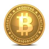 Bitcoins ha isolato su bianco Fotografia Stock Libera da Diritti