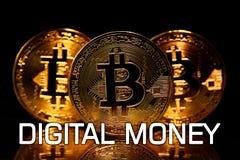 Bitcoins ha isolato sul nero con i SOLDI DIGITALI del testo Fotografia Stock