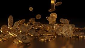 Bitcoins het vallen Stock Fotografie
