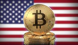 Bitcoins i framdel av USA flaggan stock illustrationer