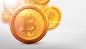 Bitcoins i Nowy Wirtualny pieniądze pojęcie Tło Złota moneta Zdjęcie Stock