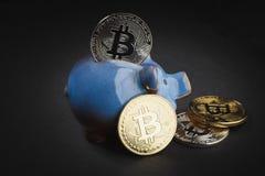 Bitcoins i prosiątka bank na czarnym łupku kamieniu Zdjęcia Stock