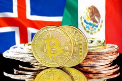 Bitcoins on Iceland and Mexico flag background. Concept for investors in cryptocurrency and Blockchain technology in the Iceland and Mexico. Bitcoins on the stock images