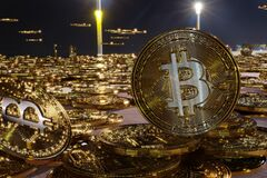 Free Bitcoins In City Stock Photos - 220071133