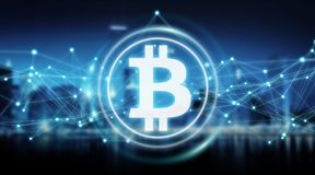 Bitcoins intercambia la representación del fondo 3D stock de ilustración