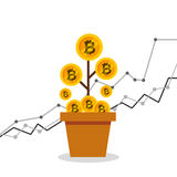 Bitcoins investment business icons. Vector illustration design Royalty Free Stock Photo