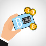 Bitcoins investment business icons Stock Photos