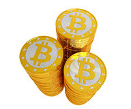 Bitcoins - isolated on white Stock Photography