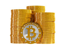 Bitcoins - isolated on white Royalty Free Stock Photography