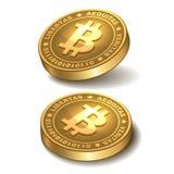 Bitcoins isolerade på vit stock illustrationer