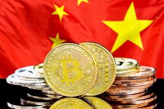 Bitcoins on Israeli flag background. Bitcoins on the background of the flag China. Bitcoins on the background of the Chinese flag. Concept for investors in royalty free stock images
